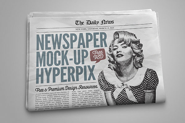 Newspaper Mockup Free Download PSD