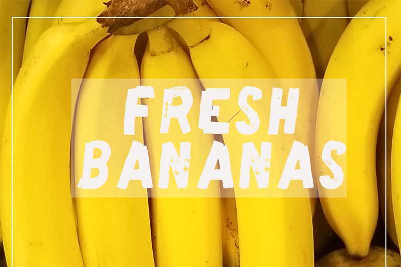 fresh bananas hand drawn hawaiian font