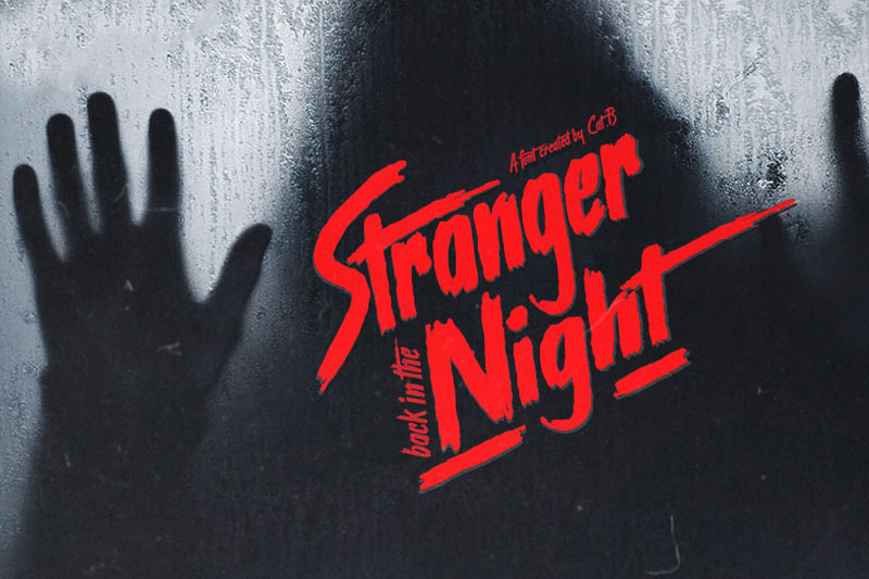 stranger back in the night vaporwave font