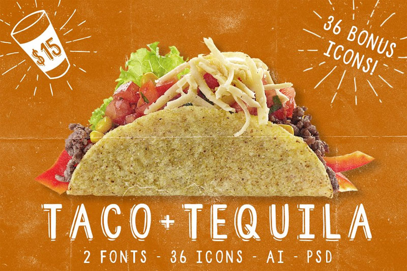 taco and tequila, mexican font