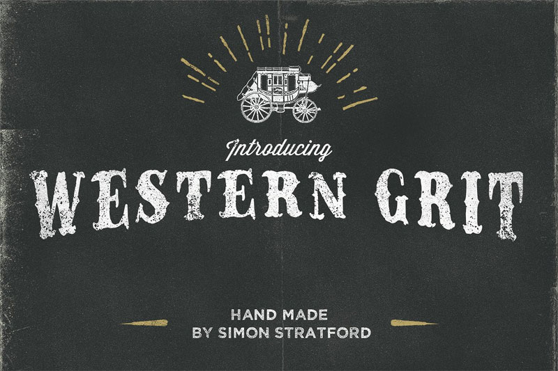 western grit hand made typeface western font