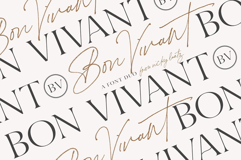 bon vivant collection wedding font