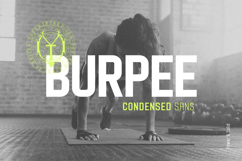 burpee sans condensed typeface racing font