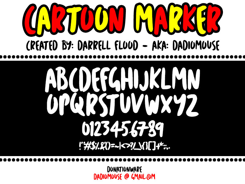 cartoon marker cartoon font
