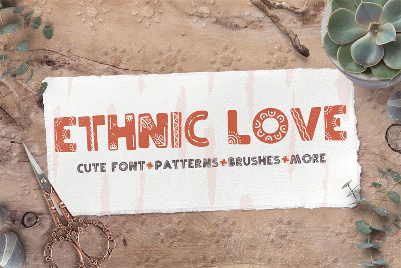 ethnic love tribal font