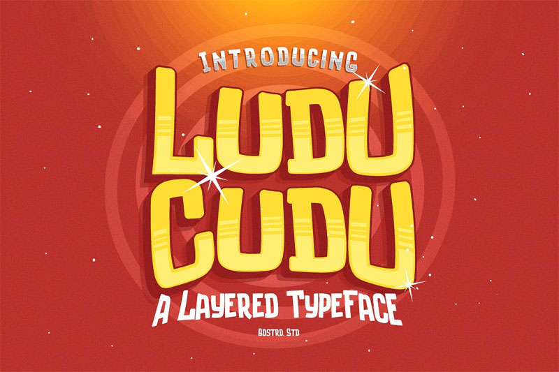luducudu layered typeface cartoon font