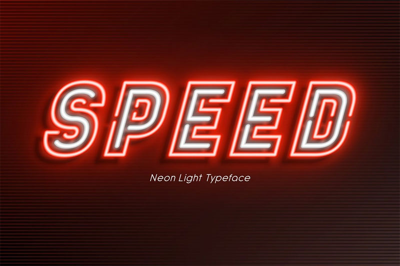 neon light alphabet, extra glowing racing font
