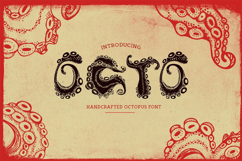 octo handcrafted octopus summer and beach font