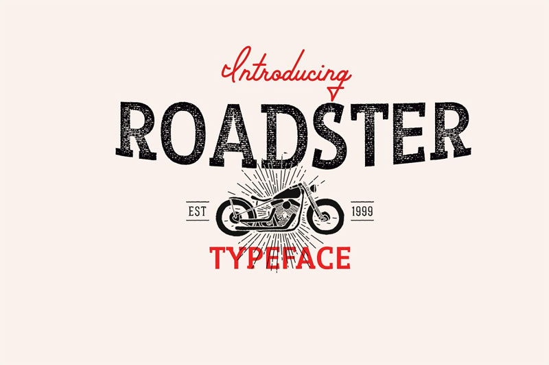 roadster typeface racing font