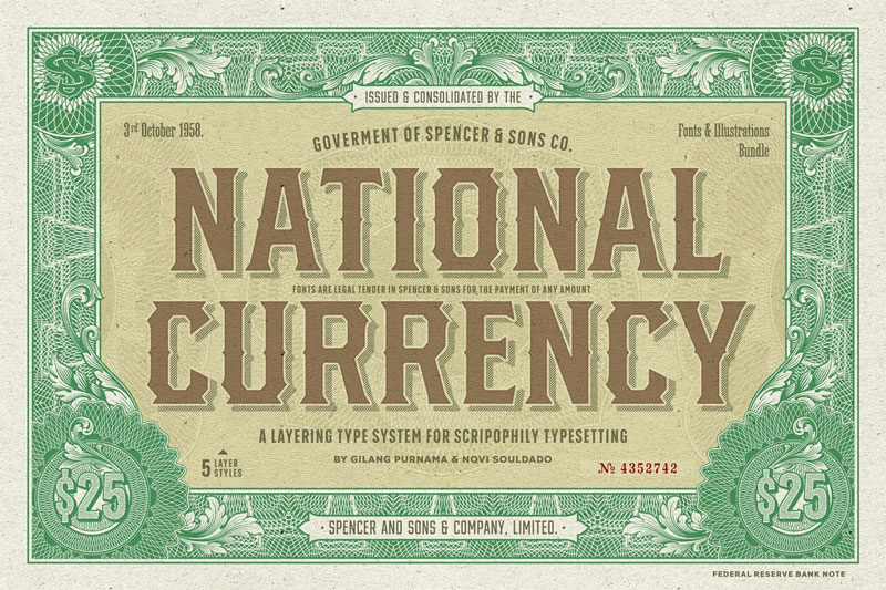 s&s national currency money font
