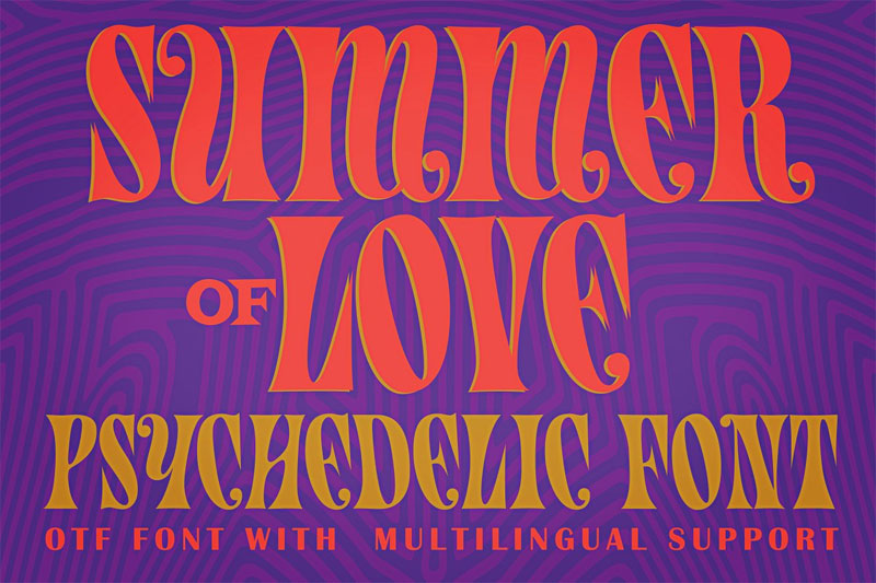 summer of love psychedelic summer and beach font