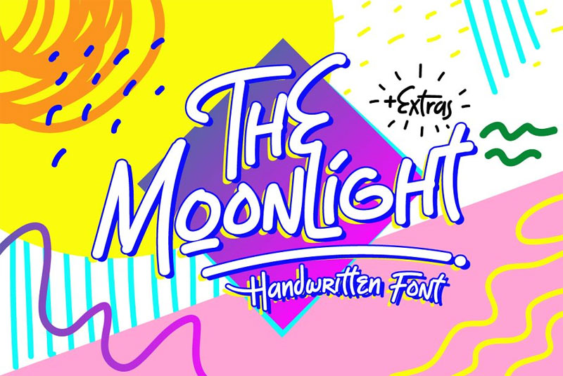 the moonlight summer and beach font