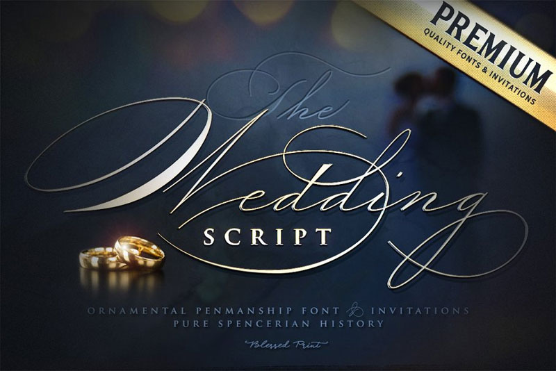 the wedding script & invitation set wedding font