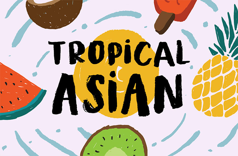 tropical asian summer and beach font
