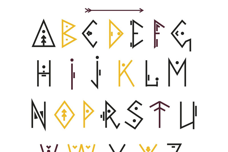 vector ethnic tribal font