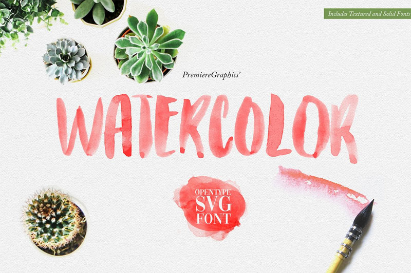 watercolor opentype svg summer and beach font