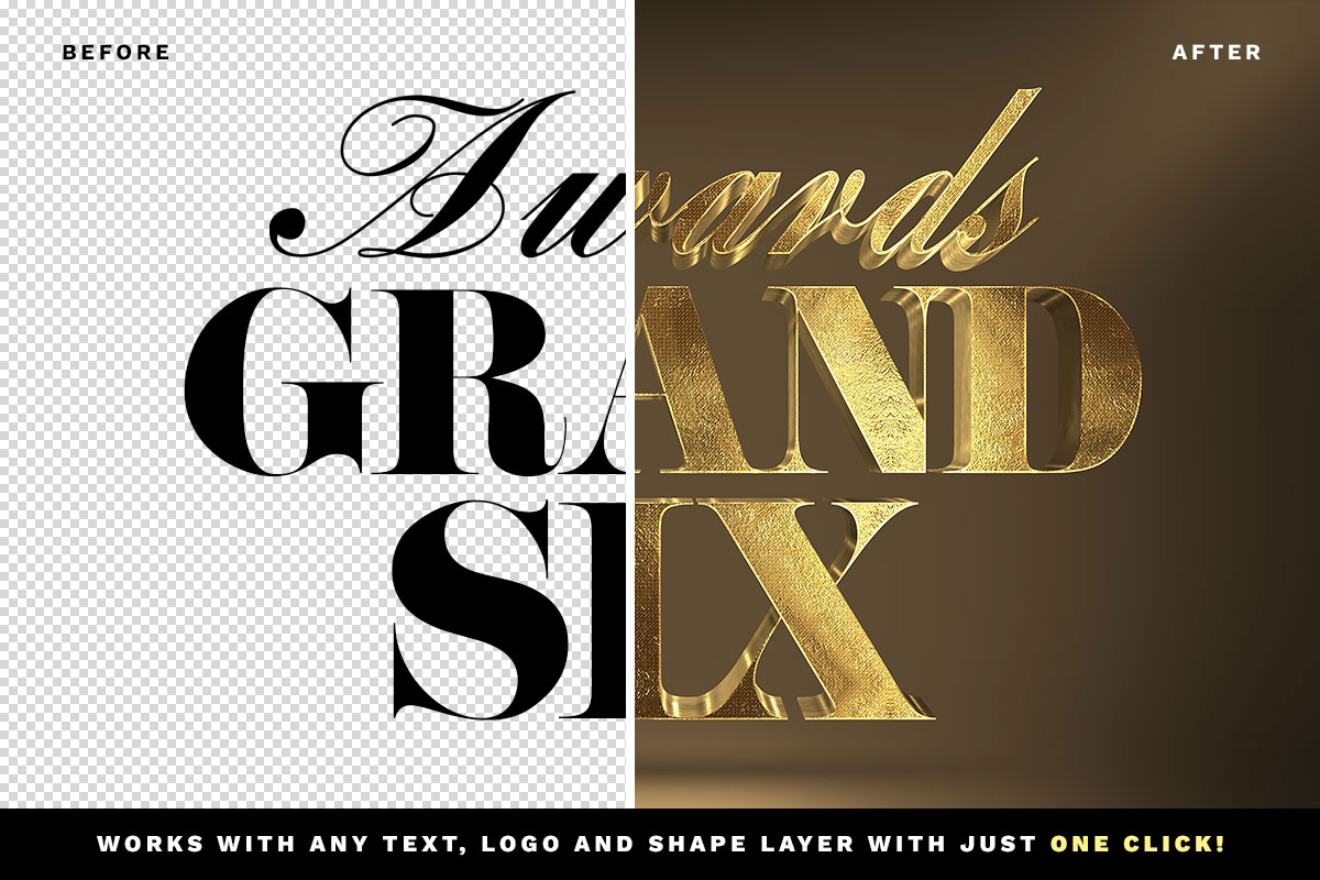 3d gold text effect vol 1 free download before after