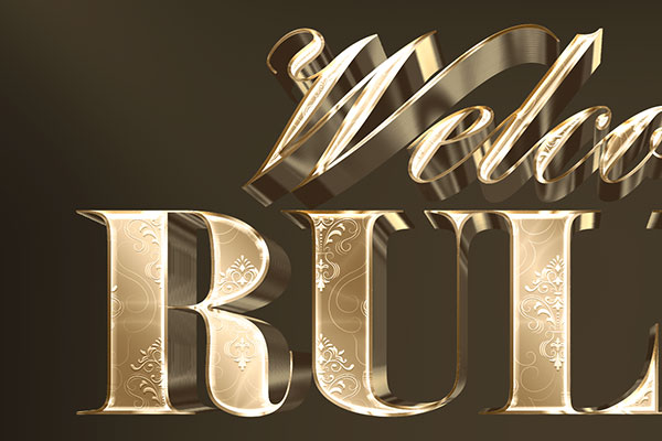 Gold Floral 3D Text Effect Download Text Style