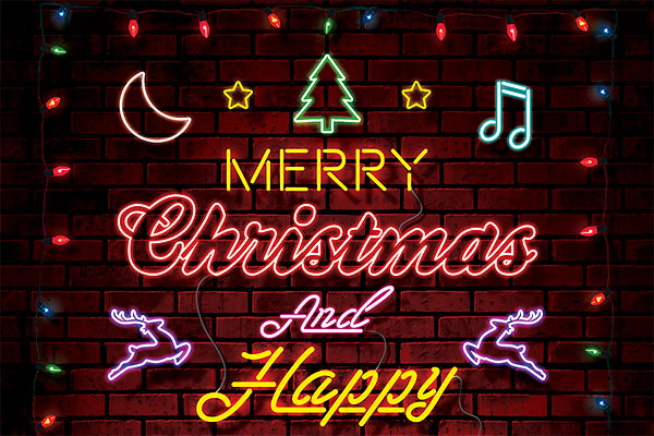Merry Christmas Neon Style Flyer PSD Template Download