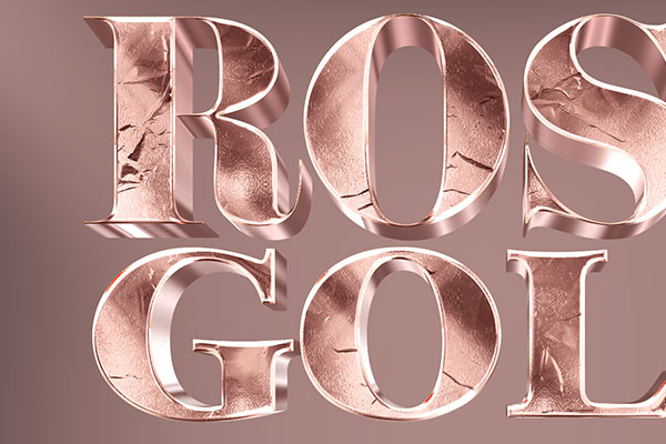Rose Gold 3D Text Effect