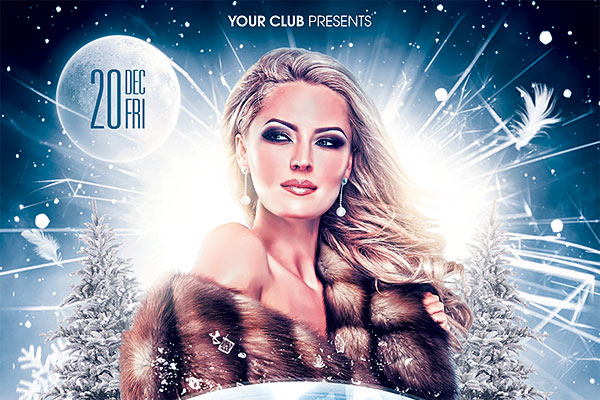 Winter Night Party Flyer PSD Template Download