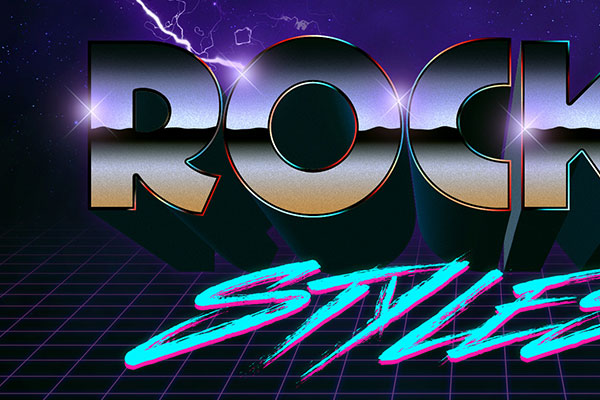 1980s Chrome Space Text Style Download Text Effect