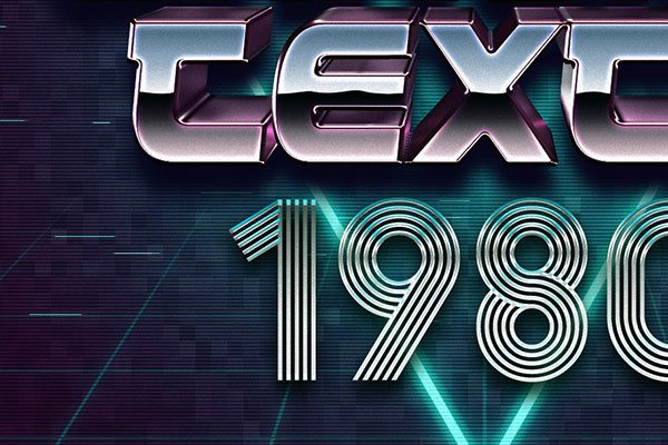 80s Metallic Text Style Download Text Effect