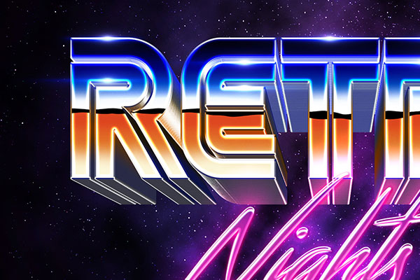 80s Space Future Text Effect Download Text Style