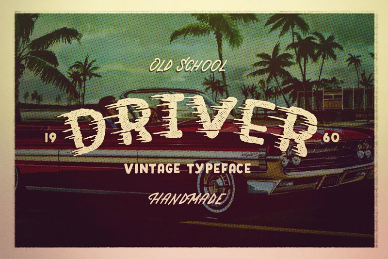 driver retro action typeface racing font