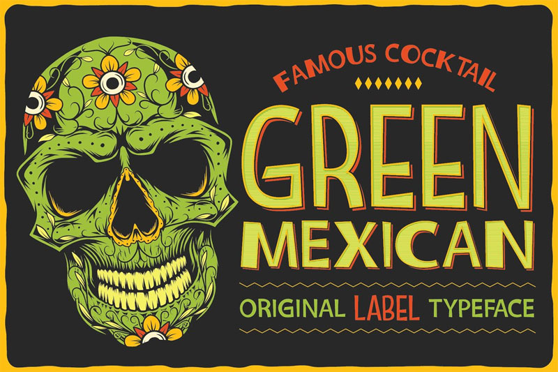 green mexican typeface font