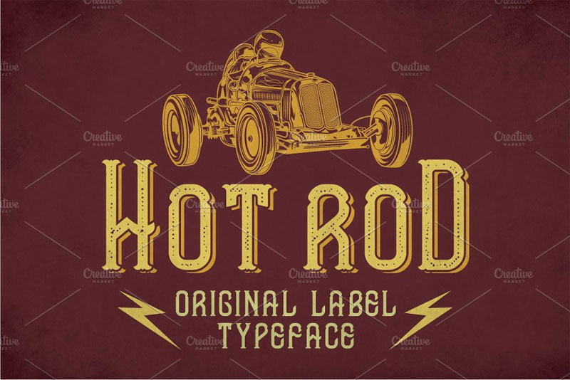 hot rod modern label typeface racing font
