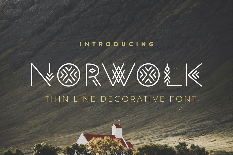 Norwolk – Thin Line Decorative Tribal Font