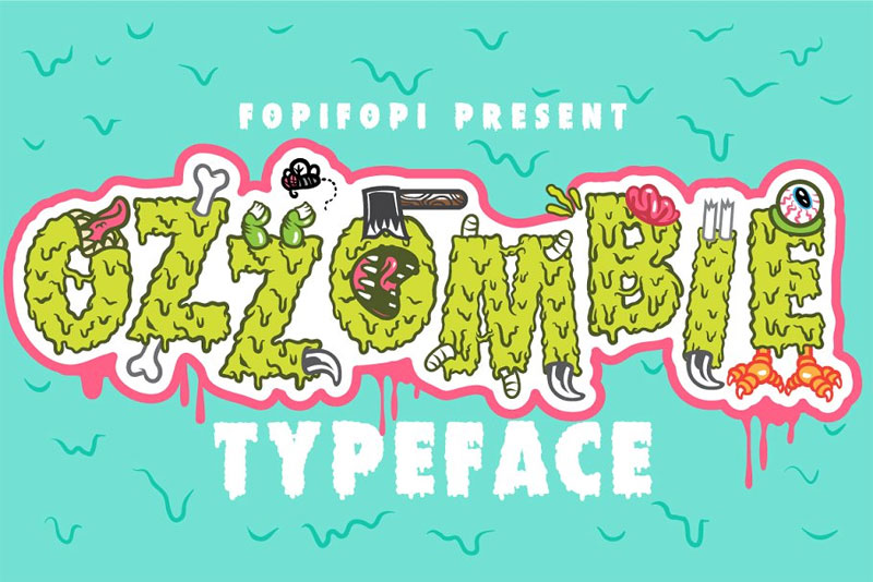 ozzombie typeface dripping slime font
