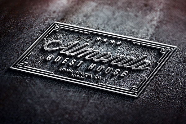 Photorealistic Embossed Metal PSD Logo Mockup Download