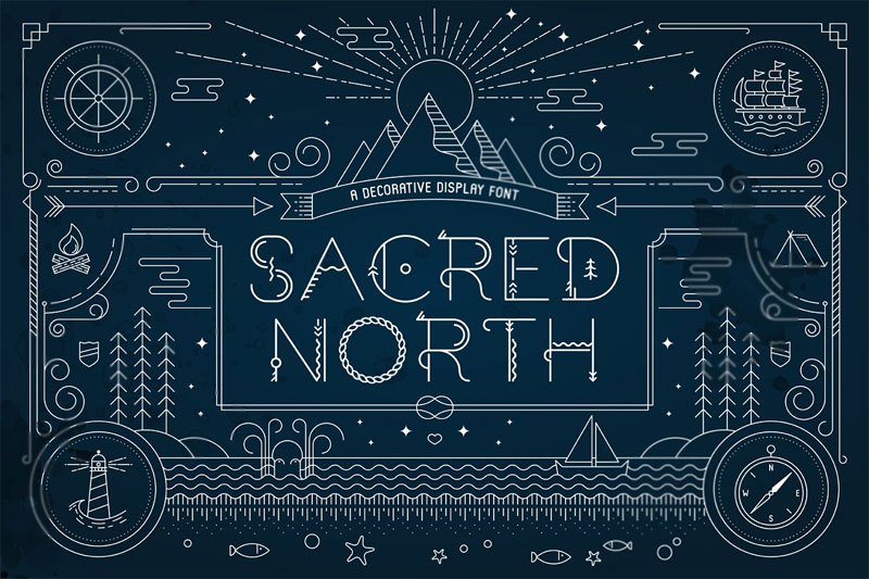 sacred north display tribal font