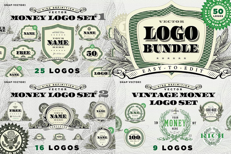 vector money logo bundle