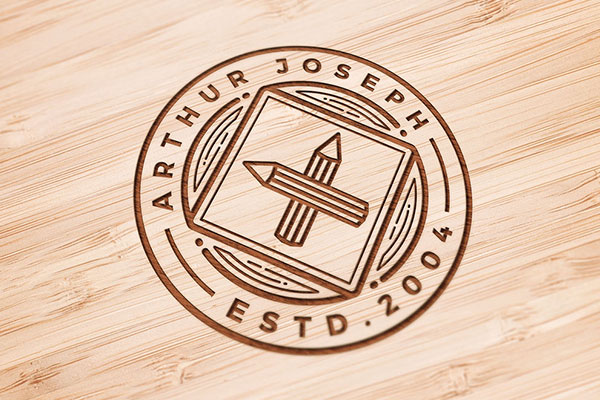 Wood Engraved PSD Logo Mockup Download