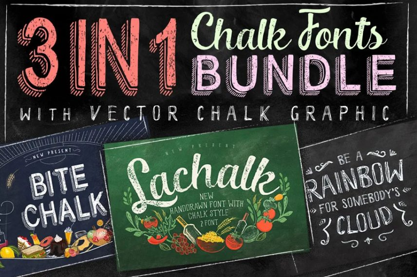 3 IN 1 Chalk Fonts Bundle Extras