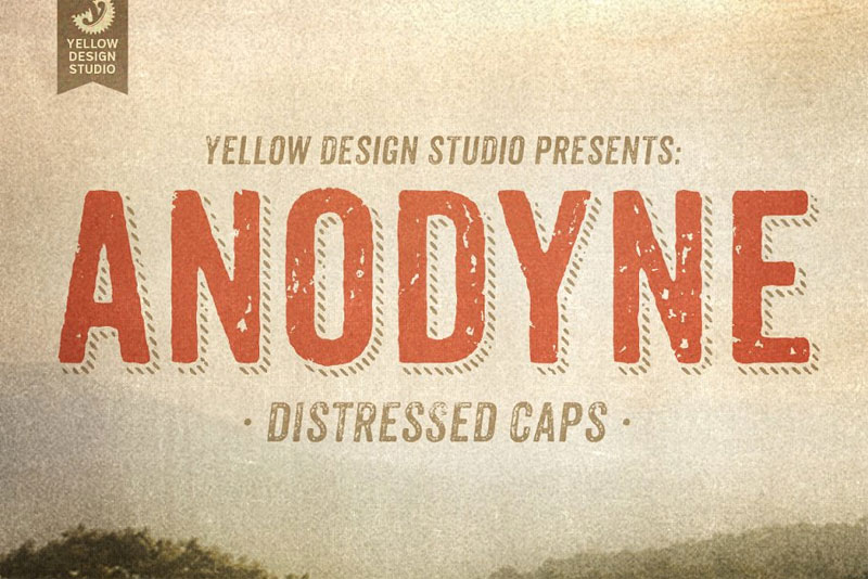 anodyne complete family distressed font