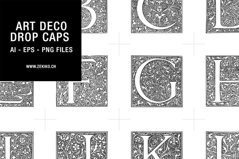 art deco drop caps art deco font