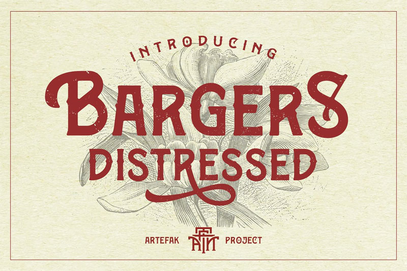 bargers distressed distressed font