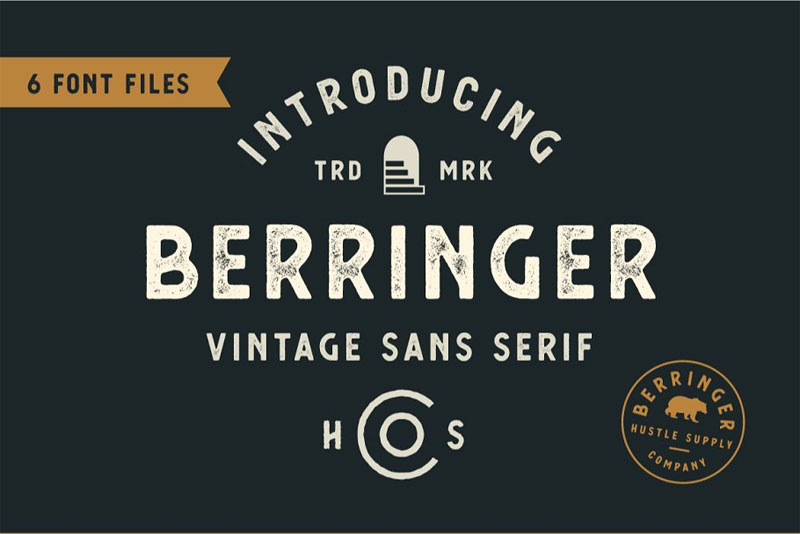 berringer vintage type family distressed font