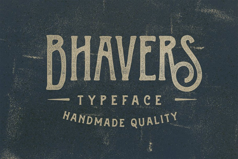 bhavers typeface distressed font