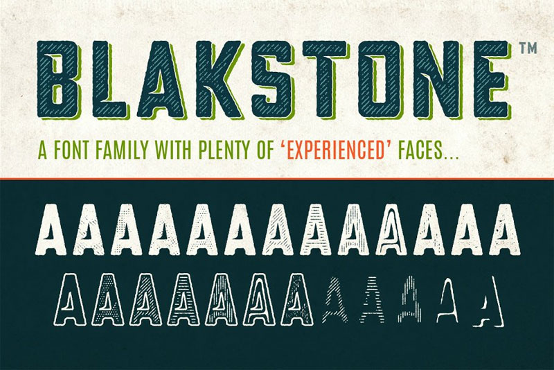 blakstone display family industrial font