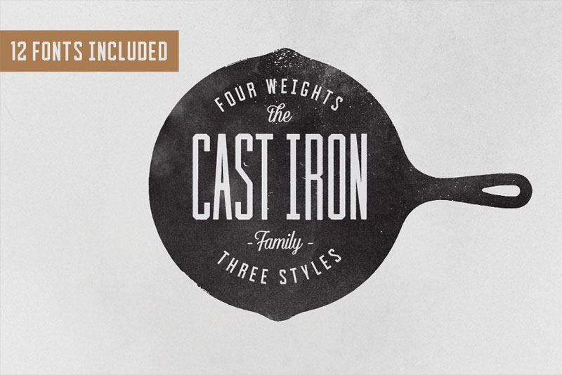 cast iron family distressed font