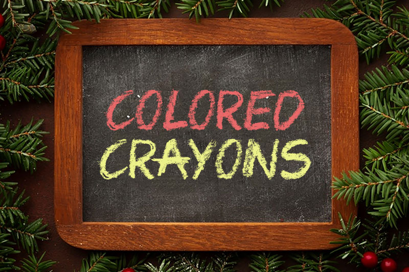 colored crayons chalkboard font