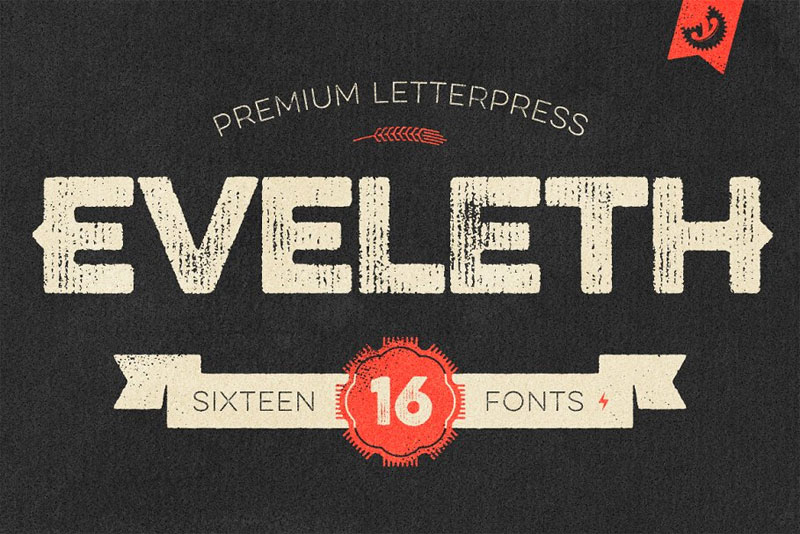 eveleth premium letterpress distressed font