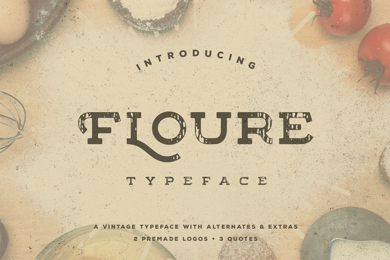 floure typeface + extras distressed font