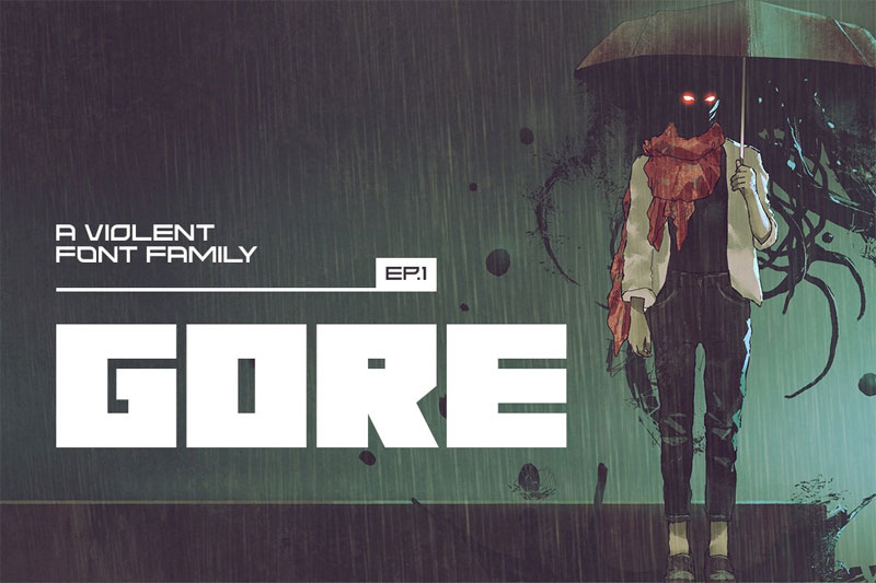 gore typeface industrial font