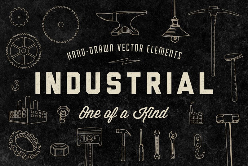 hand drawn industrial elements industrial font